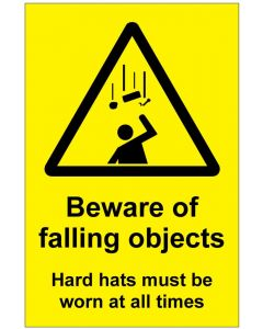 Beware of falling objects Hard hats must be worn (b)