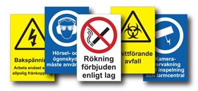 Ruotsinkieliset kyltit ja tarrat