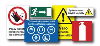 Suomenkieliset kyltit ja tarrat